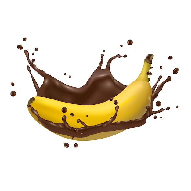 Banana and chocolate splash, 3d vector icon Premium Vector