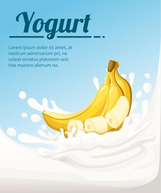 Йогурт со вкусом банана. брызги молока и банановые фрукты. реклама йогурта в. иллюстрация на голубом фоне. место для вашего текста. Premium векторы