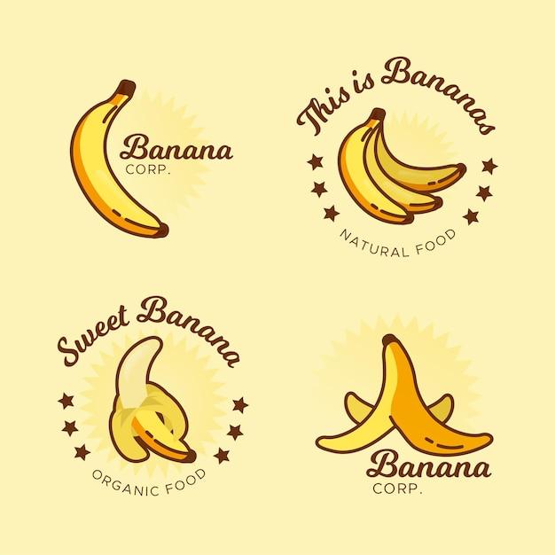 バナナロゴコレクションテンプレート 無料ベクター
