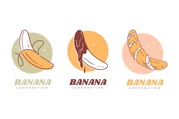 Коллекция логотипов бананов Premium векторы