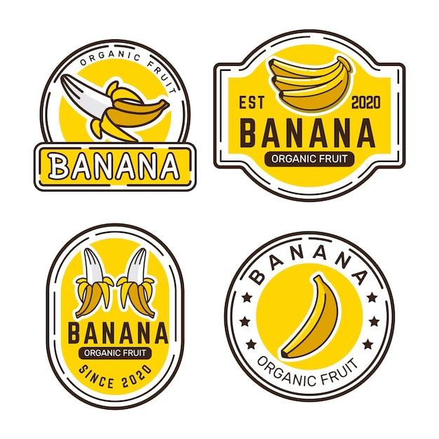 바나나 로고 컬렉션 프리미엄 벡터