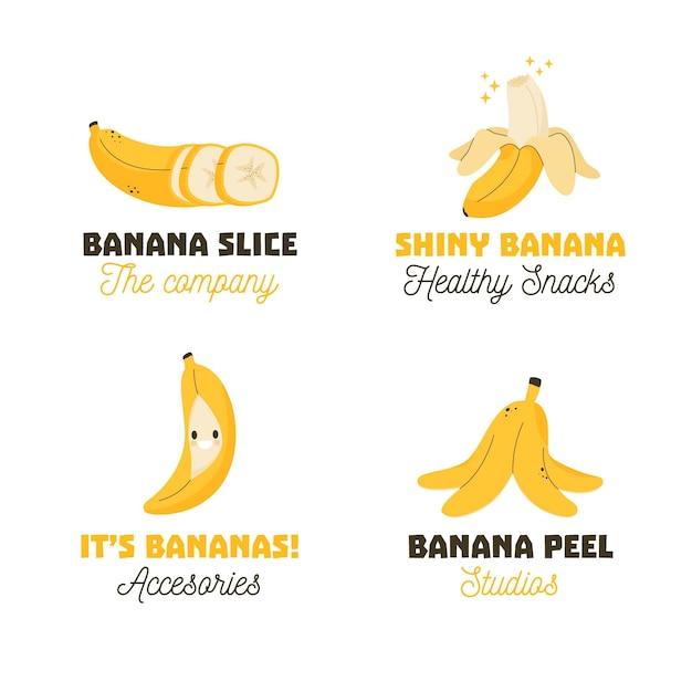 Collezione logo banana Vettore gratuito