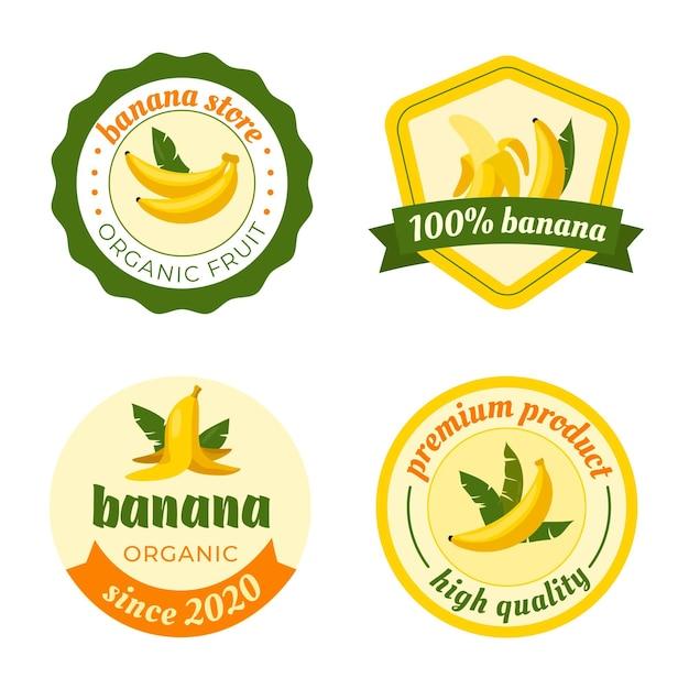 バナナロゴセットテンプレート 無料ベクター