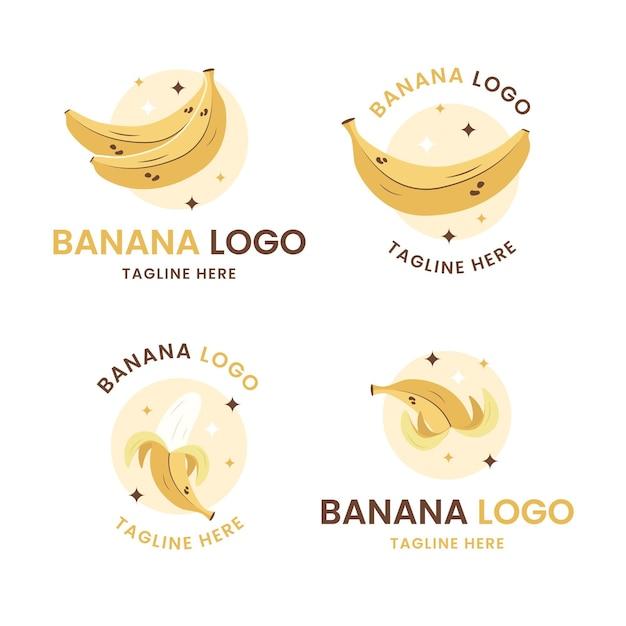 Набор шаблонов логотипа банан Бесплатные векторы