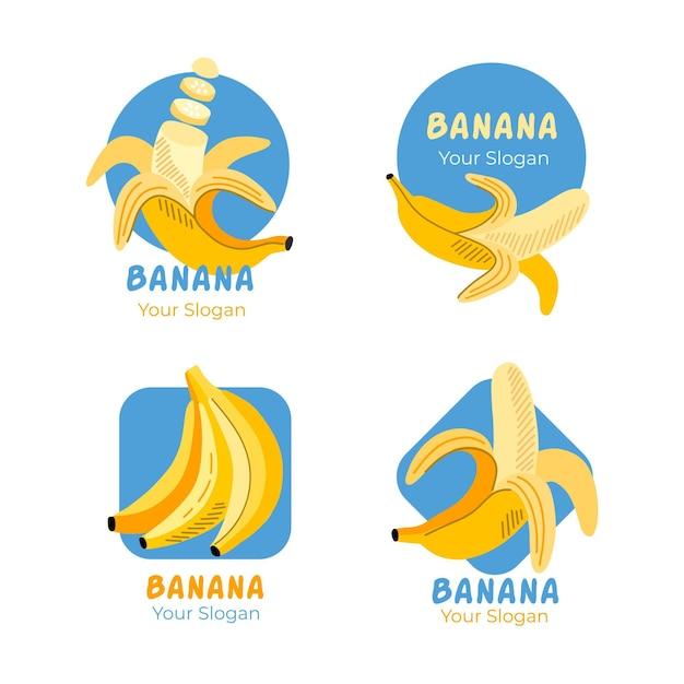 Pacchetto modelli logo banana Vettore gratuito