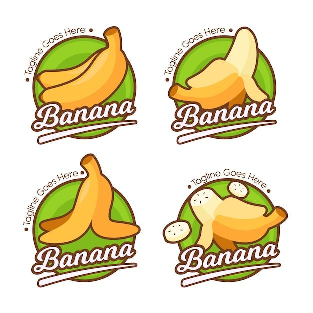 Insieme di modelli di logo di banana Vettore gratuito