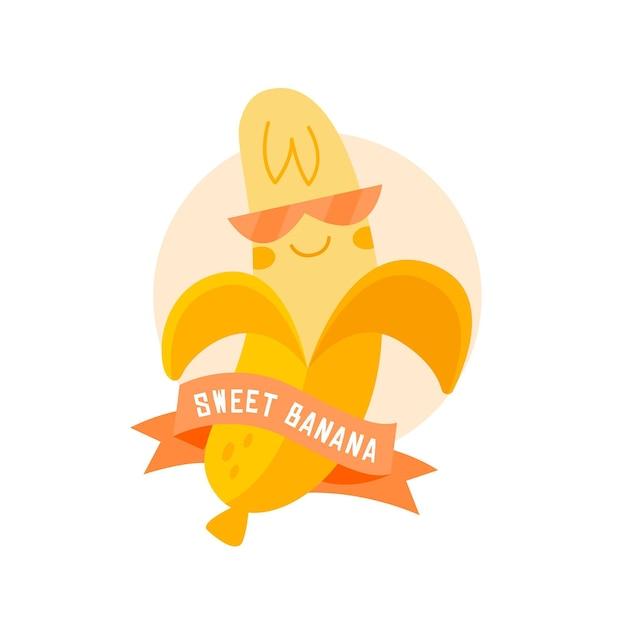Logo di banana con occhiali e nastro Vettore gratuito