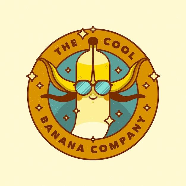 メガネとバナナのロゴ 無料ベクター