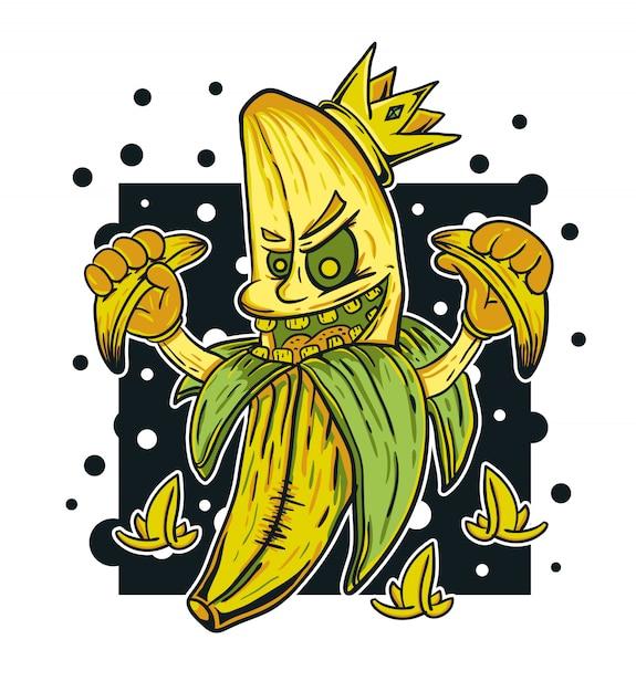 Banana monster king vector illustration Premium Vector