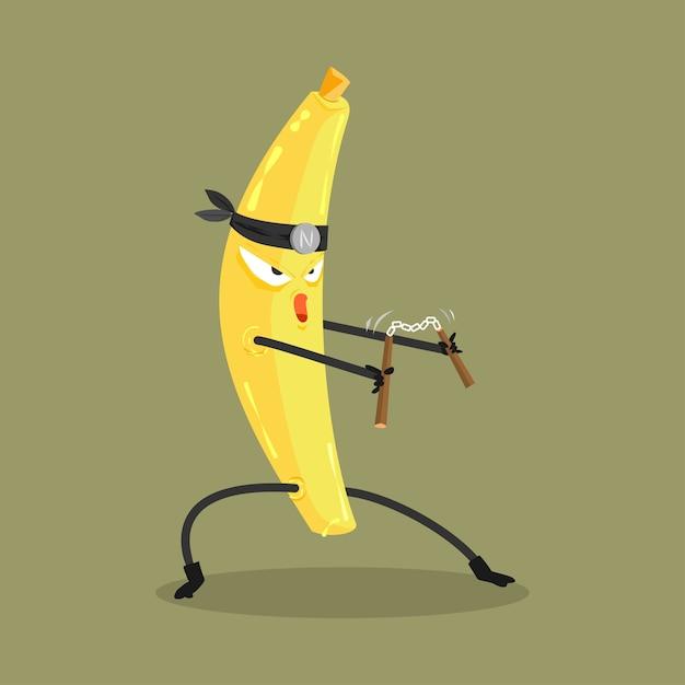 banana ninja cartoon Premium Vector