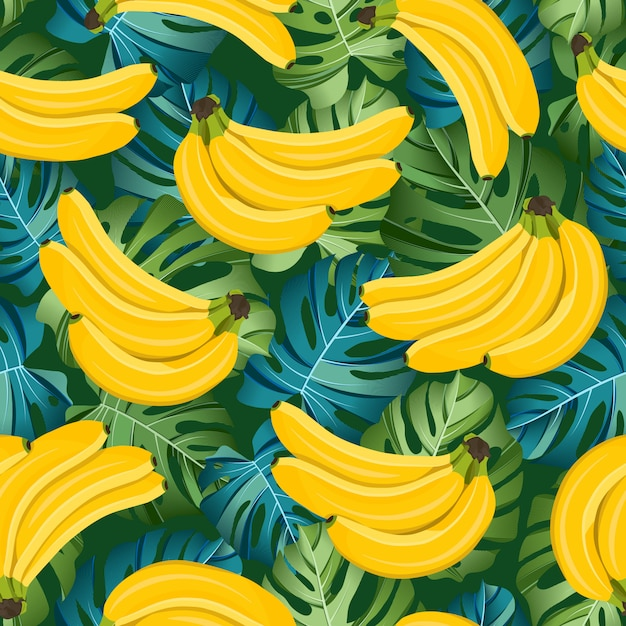 Banana seamless pattern with tropical leaves. tropical fruit and botanical Premium Vector