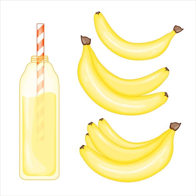 Banana and smoothie set Premium Vector