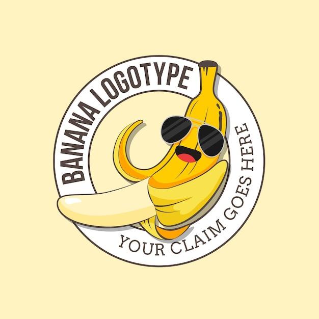サングラスのロゴテンプレートを身に着けているバナナ 無料ベクター