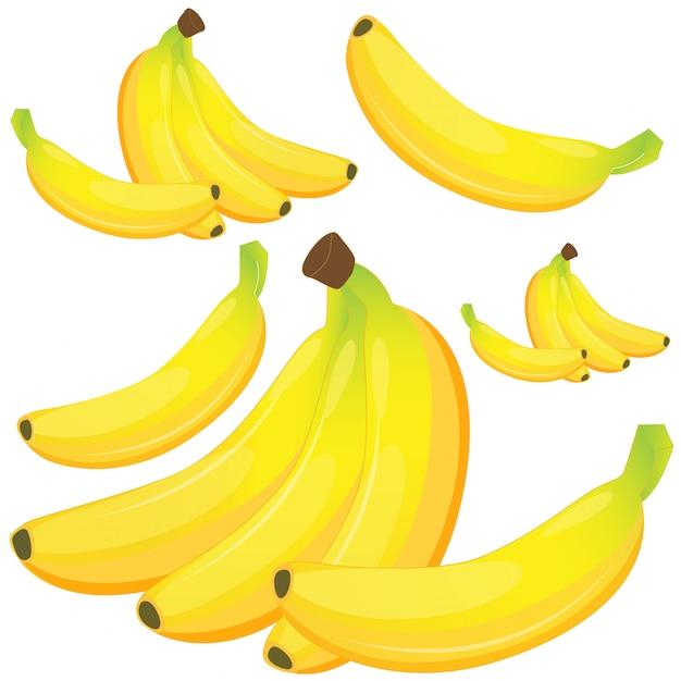 Banana su sfondo bianco Vettore gratuito