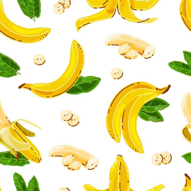 Бананы бесшовные модели на белом фоне изолированных. Premium векторы
