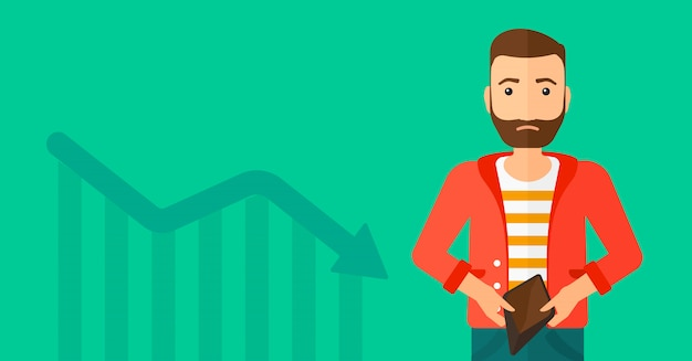 Bancrupt business man. Premium Vector