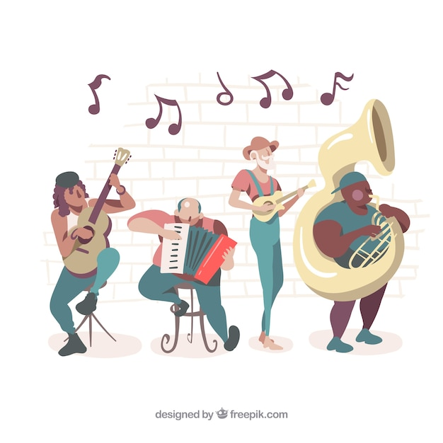Band illustration playing instruments Free Vector