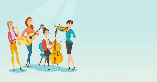 Band of musicians playing musical instruments. Premium Vector
