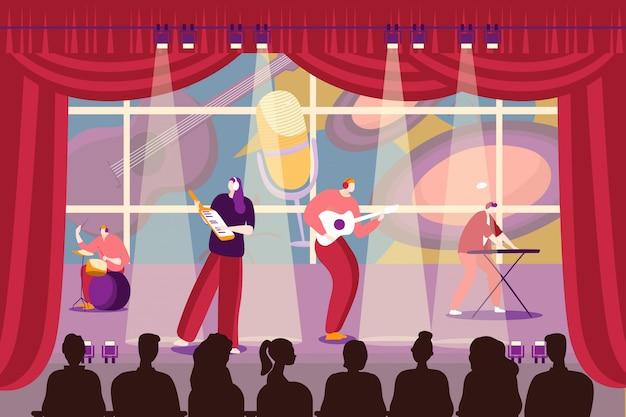 バンドの人々は、イラスト、イラストで音楽を演奏します。漫画の男性女性キャラクターミュージシャンのパフォーマンス、音楽グループ。 Premiumベクター