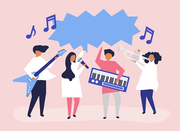 A band performing live music Free Vector