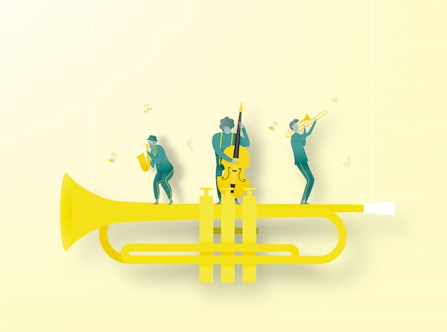 Band play jazz music in paper art style Premium Vector