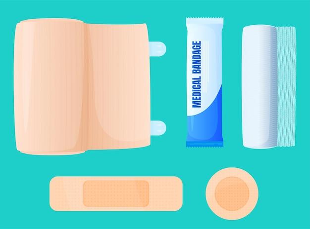 包帯、弾性包帯、絆創膏。 Premiumベクター