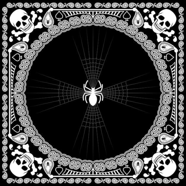 Bandana pattern skull and spider Premium Vector