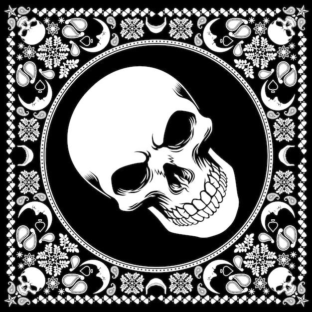 Bandana pattern with skull Premium Vector
