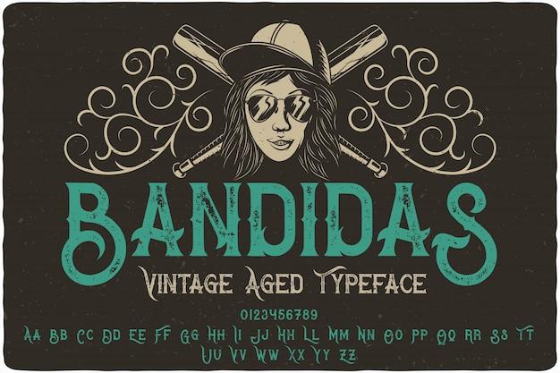 Шрифтовая этикетка bandidas Premium векторы