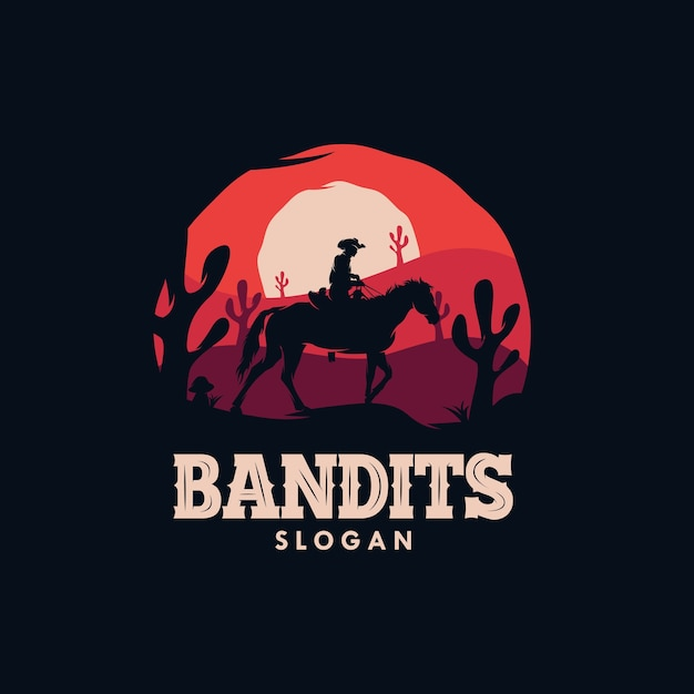 Bandit cowboy riding a horse in the night logo Premium Vector