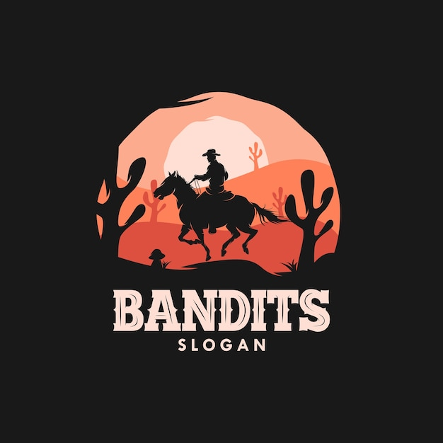 Bandit cowboy riding a horse in the sunset logo Premium Vector