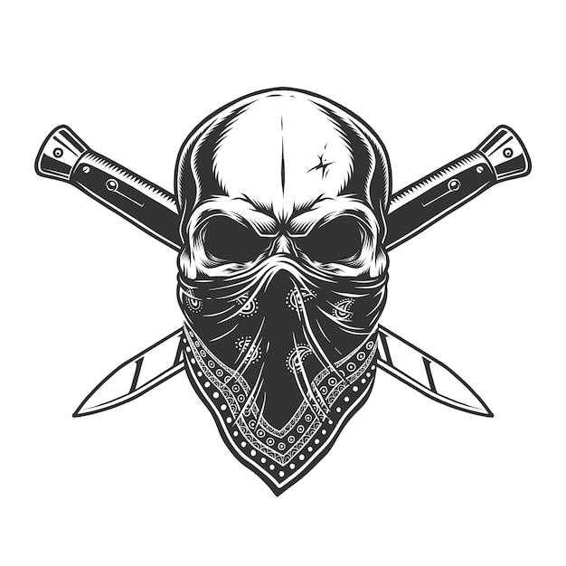 Бандитский череп с банданой на лице Бесплатные векторы