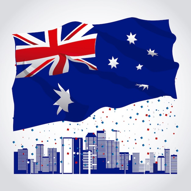 Baner of happy australia day with flag and skyline Free Vector