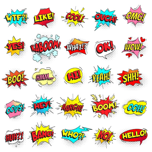 Bang, ouch shouts and yeah shouting text bubble Premium Vector