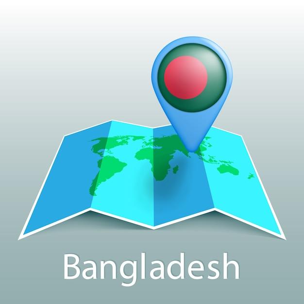 灰色の背景に国の名前とピンでバングラデシュの旗の世界地図 Premiumベクター