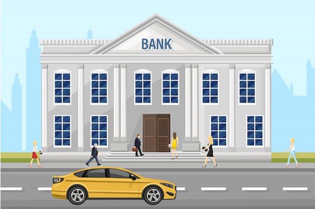 Банковская архитектура фасада. люди гуляют по улице. плоский стиль иллюстрации Premium векторы