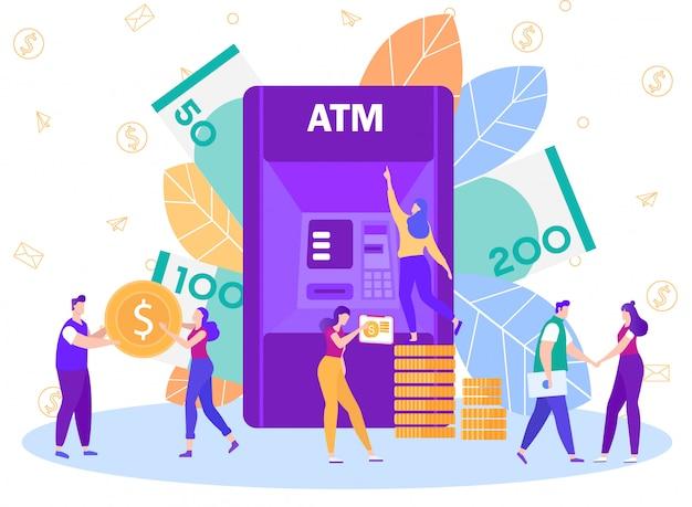 Bank atm network service flat vector concept Premium Vector