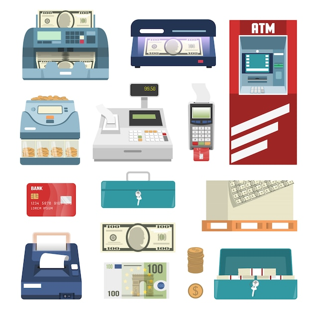 Bank attributes icon set Free Vector