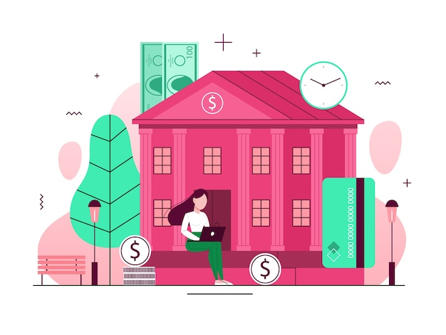 Bank building concept. idea of finance, money investment. financial institution exterior. facade of the house with column. coutrhouse or government.  illustration Premium Vector