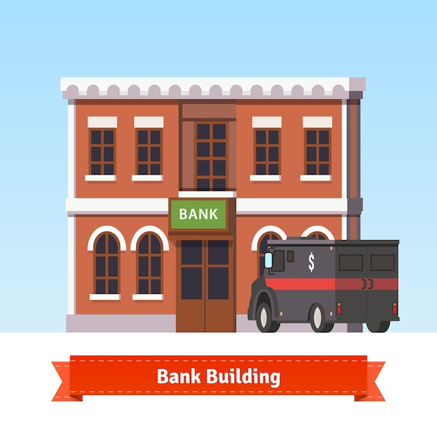 Bank Building With Armoured Truck At The Front Free Vector