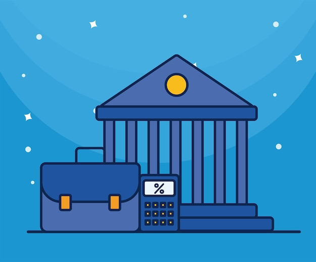 Bank building with portfolio and calculator flat style icon Premium Vector
