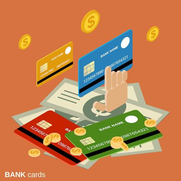Bank cards flat 3d isometric vector concept illustration Premium Vector