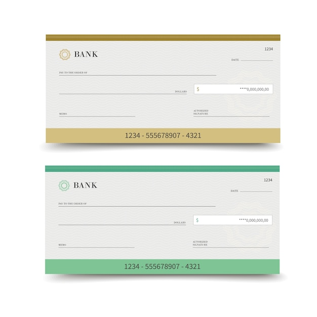 Bank check isolated Premium Vector