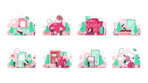 Bank concept illustration set. idea of financial planning, money investment and transfer, payments by mobile phone and other operations.  line  illustration Premium Vector