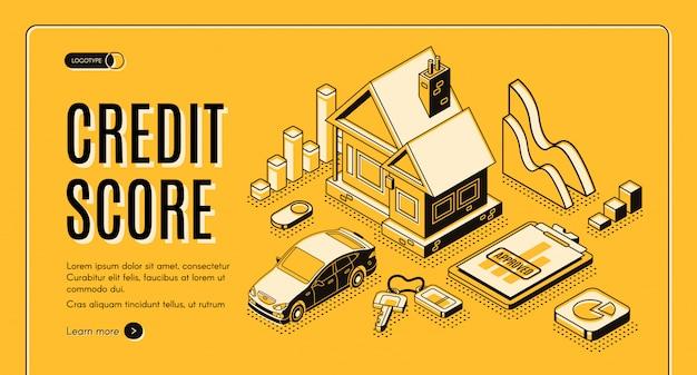 Bank consumer credit isometric vector promo web banner Free Vector