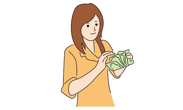 Обслуживание клиентов банка считает деньги Premium векторы