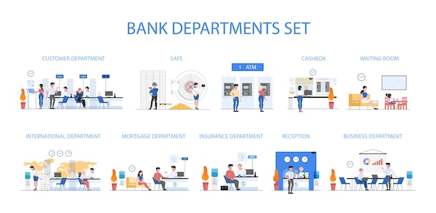 Bank departments set. people make financial operations in different bank department. currency exchange, atm operation and consulting. security at cash vault.  illustration in  style Premium Vector