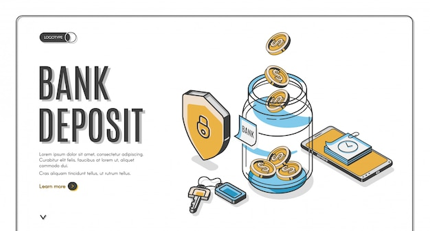 Bank deposit isometric landing page, dollar coins falling to glass jar with shield, keys and mobile phone around, investment increase money saving business Free Vector