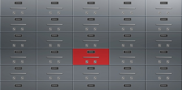 Bank deposit safe boxes wall realistic vector Free Vector