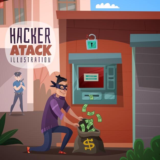Bank hacking cartoon illustration Free Vector